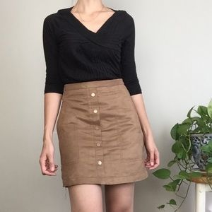 H&M • faux suede button-down mini skirt